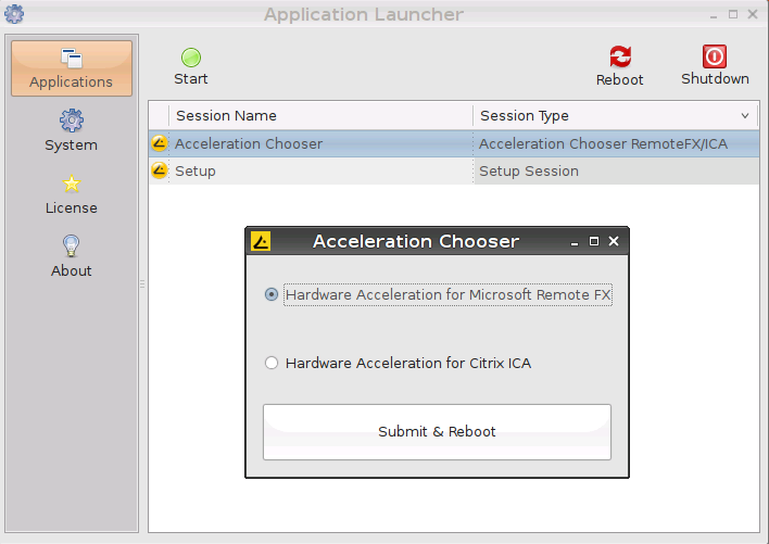 DSP Chooser, required to select DSP accelerated content in the Universal Desktop LX for ARM firmware