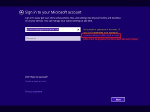 Bypass the Microsoft Account Setup during Windows 8.1 installation.